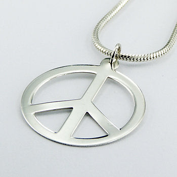 Peace Symbol Sterling Silver Pendant (large)