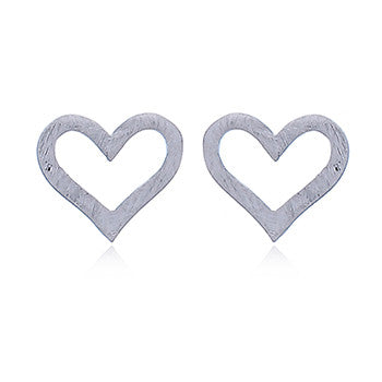 Brushed Silver Hearts Stud Earrings, Sterling Silver