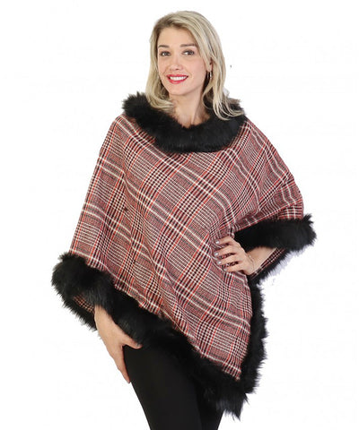 Maria Poncho : Burgundy Plaid