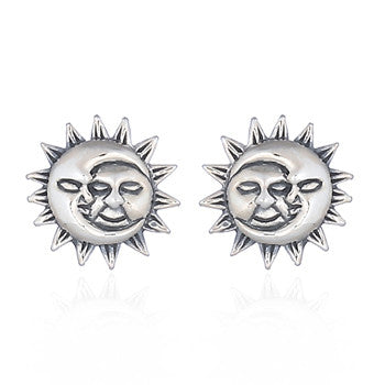 Sun & Moon Stud Earrings, Sterling Silver