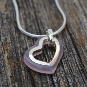 Rose Quartz Heart Pendant, Sterling Silver