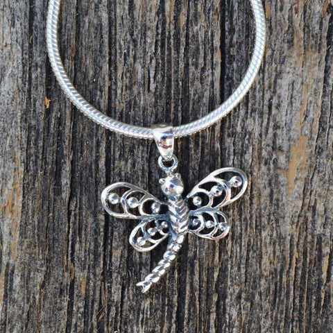 Dragonfly Pendant with Detailed Wings, Sterling Silver