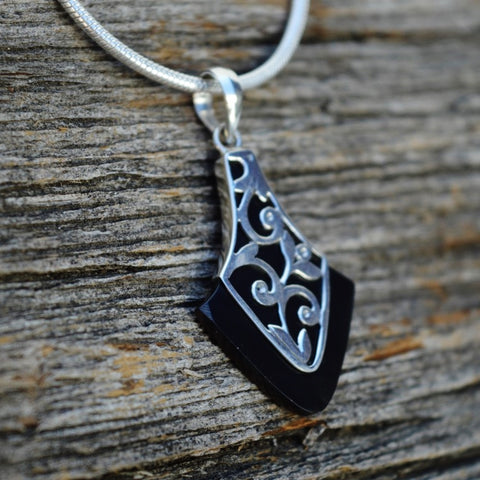 Black Agate Pendant w Sterling Silver Waves