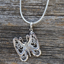 Load image into Gallery viewer, Butterfly with Filigree Wings Pendant, Sterling Silver