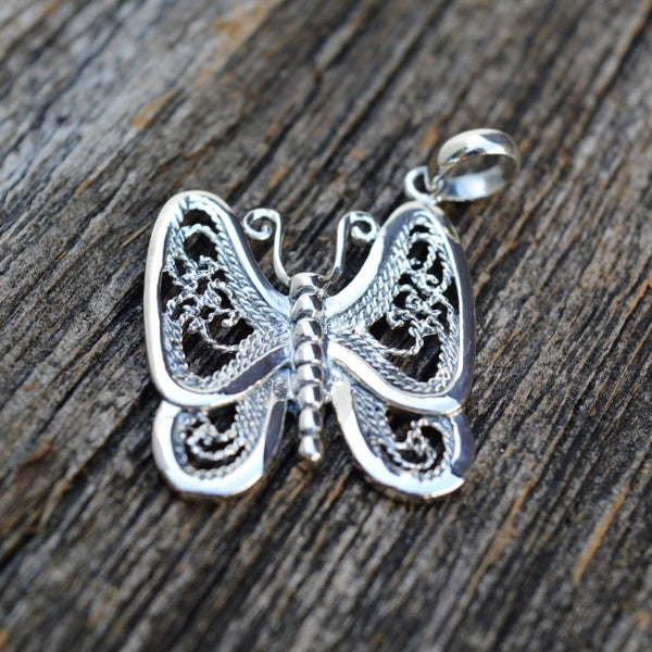 Butterfly with Filigree Wings Pendant, Sterling Silver