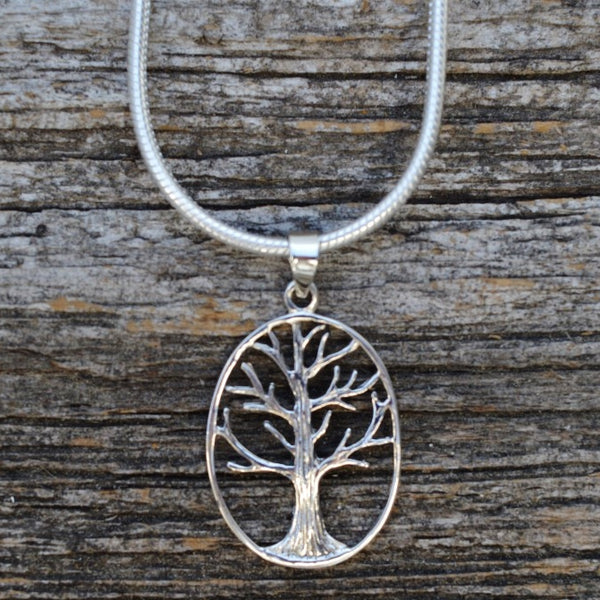 Tree with Bark Details Pendant, Sterling Silver