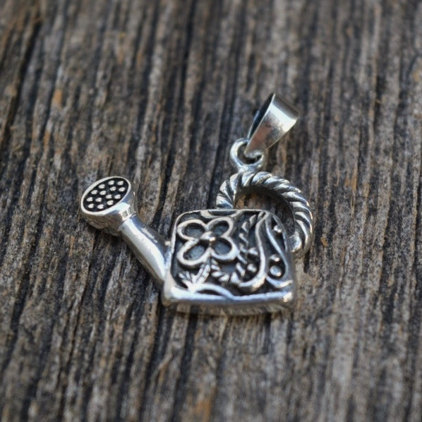 Watering Can Pendant, Sterling Silver