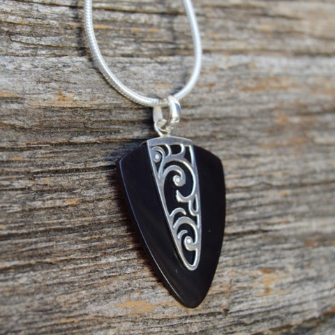 Black Shell Pendant w Sterling Silver Waves