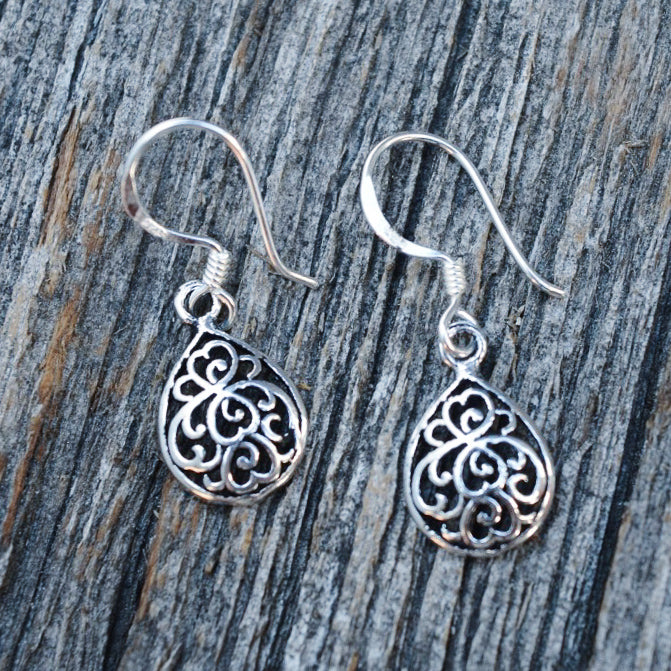 Dainty Teardrop Filigree Dangle Earrings, Sterling Silver