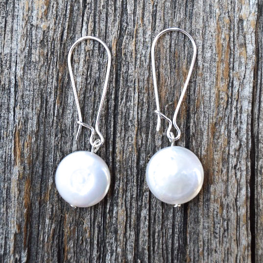 Cultured Pearl Earrings on long Sterling Silver Hooks