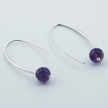 Amethyst Contemporary Earrings, Sterling Silver