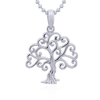 Tree with Curly Branches Pendant in Sterling Silver