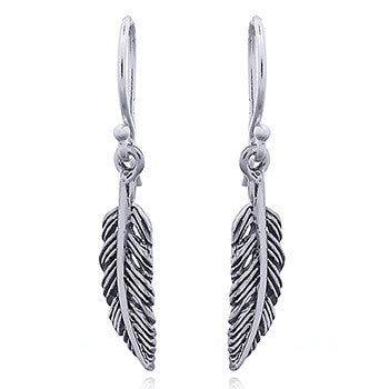 Small Feather Earrings, Sterling Silver