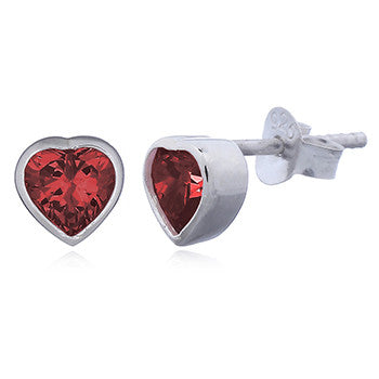 Sparkle Heart Stud Earrings, Sterling Silver