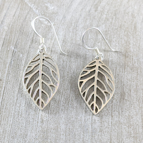 Leaf Earrings in Sterling Silver