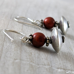 Red Coral & Sterling Silver Bead Earrings