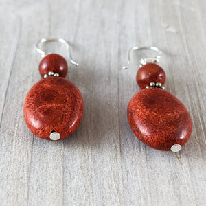 Red Coral Bead Earring