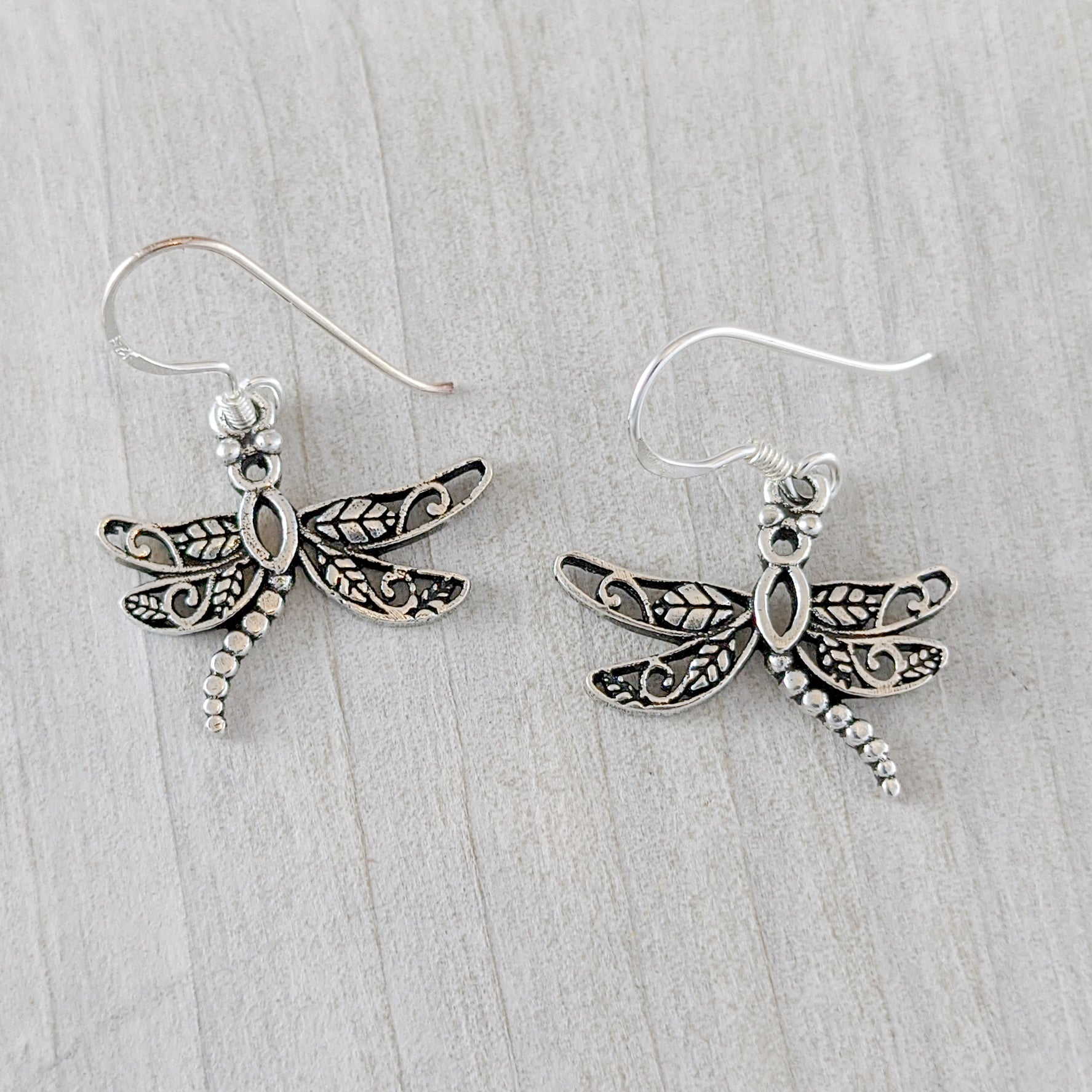 Dragonfly Earrings with Unique Wings, Sterling Silver