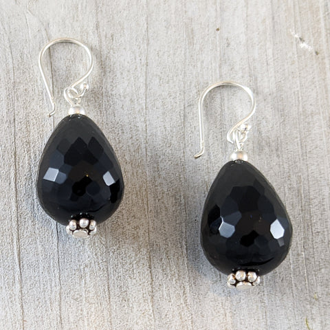 Black Quartz Earrings, Sterling Silver