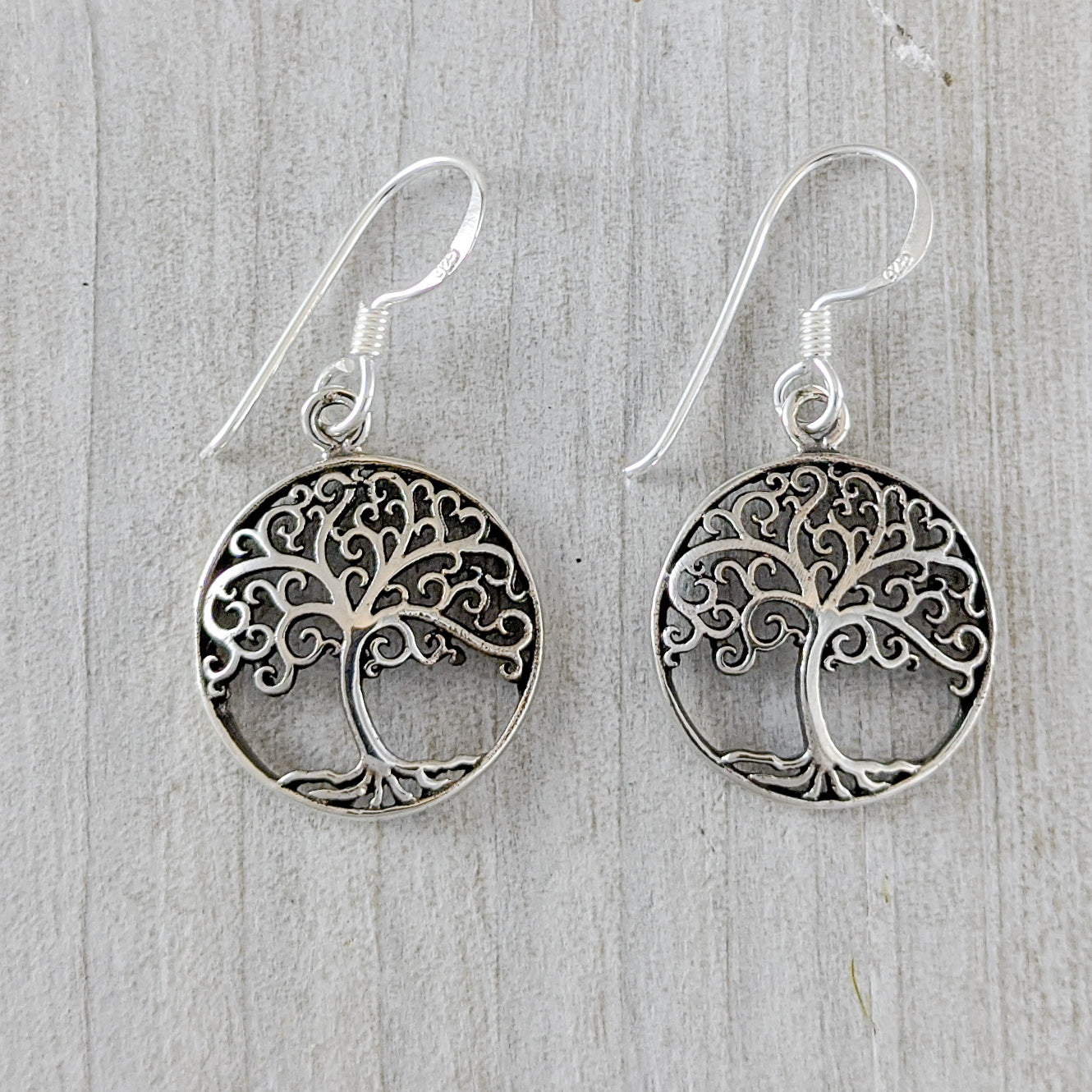 Tree of Life Earring with Curled Branches, Sterling Silver