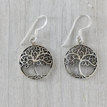Load image into Gallery viewer, Tree of Life Earring with Curled Branches, Sterling Silver