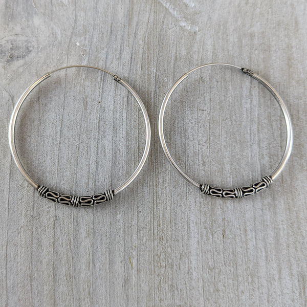 Hoop Earrings with Bali Beads, Sterling Silver