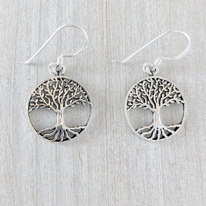 Tree of Life Earring with Strong Roots, Sterling Silver