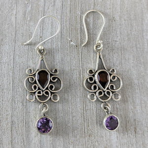 Garnet & Amethyst Dangling Earrings, Sterling Silver