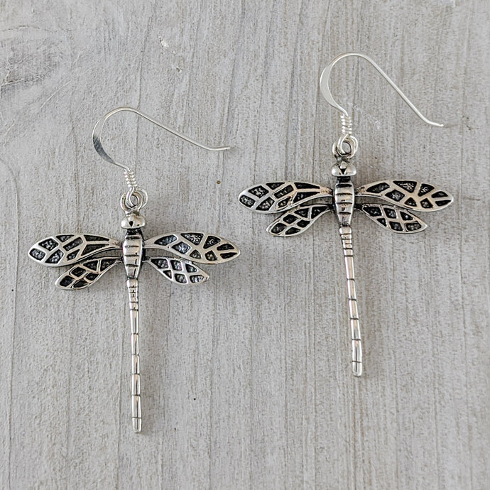 Dragonfly Earrings, Antique Look, Sterling Silver
