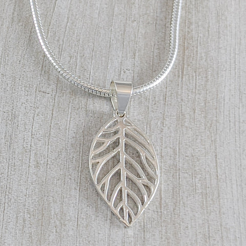 Large Leaf Pendant, Sterling Silver