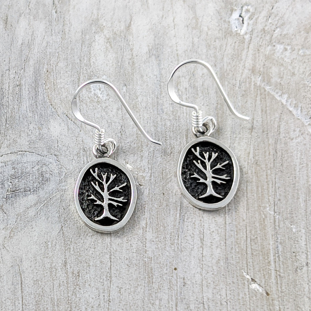 Tree of Life Earrings in Relief, Sterling Silver