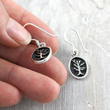 Load image into Gallery viewer, Tree of Life Earrings in Relief, Sterling Silver