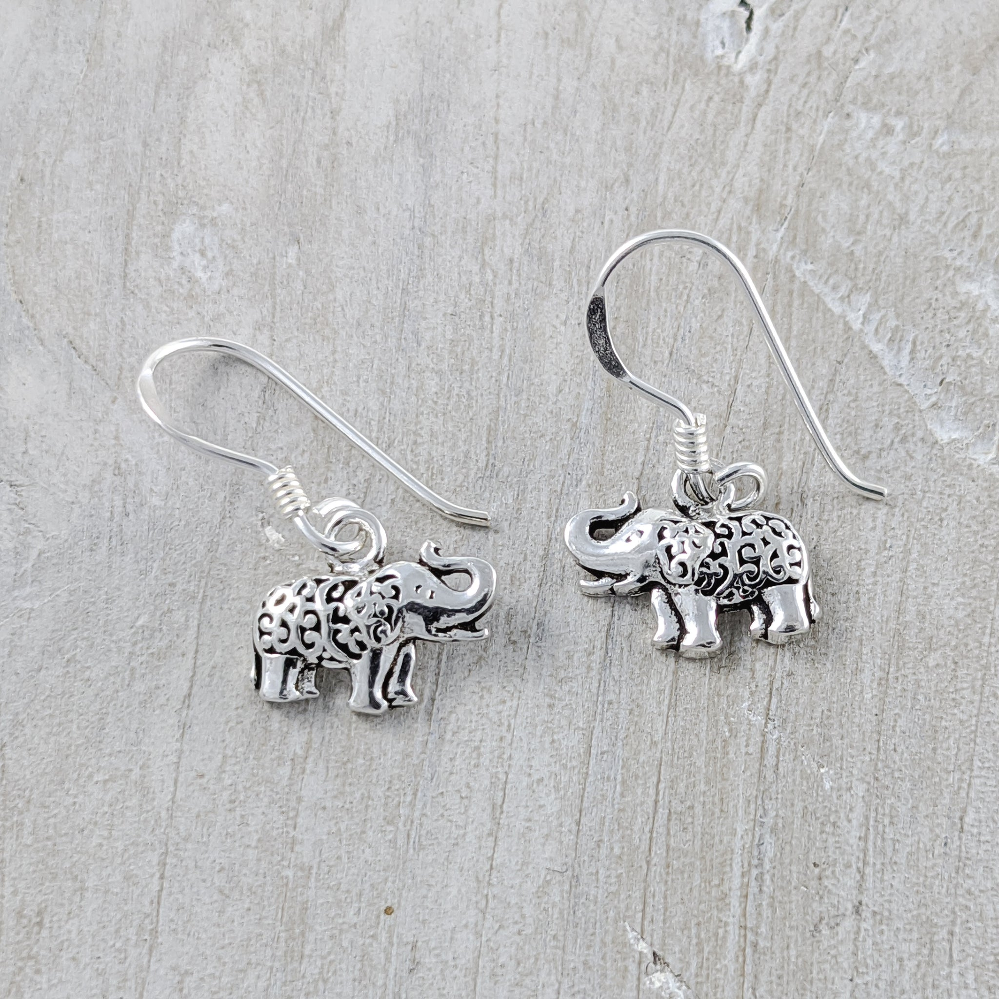 Elephant with Filigree Backs Earrings, Sterling Silver
