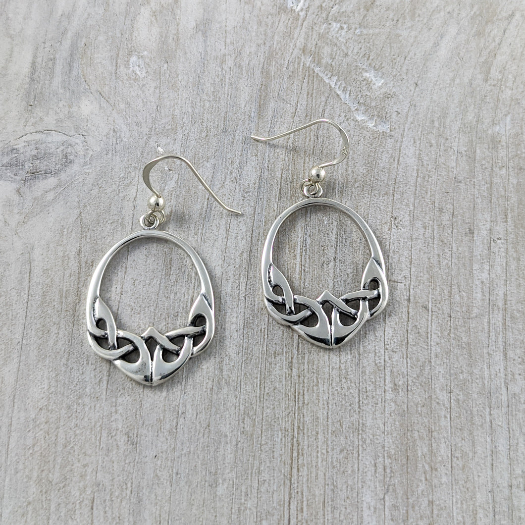 Oval Celtic Knot Earring, Sterling Silver