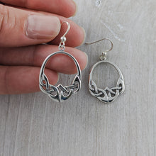 Load image into Gallery viewer, Oval Celtic Knot Earring, Sterling Silver