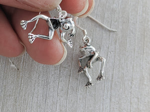 Moving Frogs Earrings, Sterling Silver