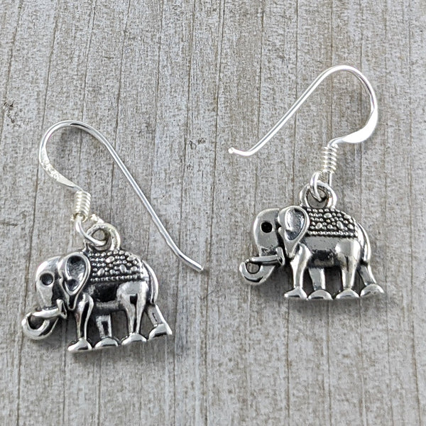 Small Elephant Earrings, Sterling Silver