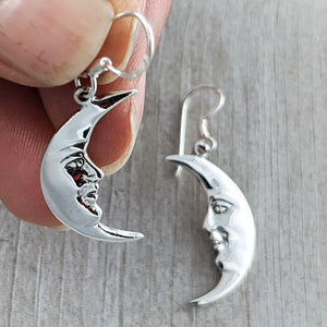 Cresent Moon Earrings, Sterling Silver