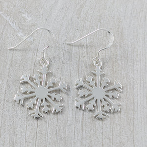 Large Snowflake Earrings, Sterling Silver