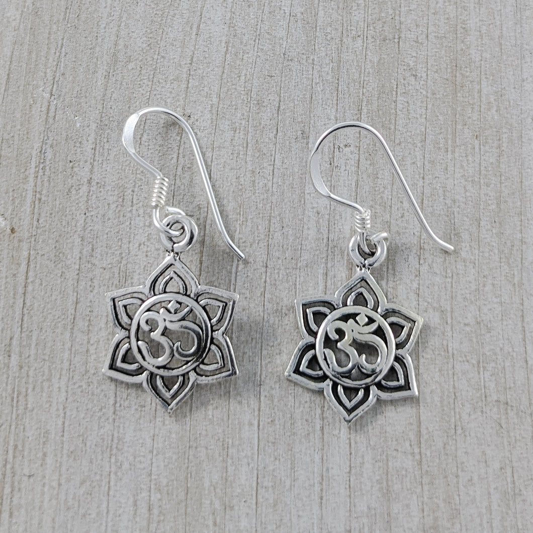 Lotus Om Earrings, Sterling Silver