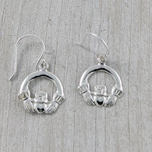 Load image into Gallery viewer, Delicate Celtic Claddagh Earrings, Sterling Silver