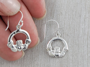 Delicate Celtic Claddagh Earrings, Sterling Silver
