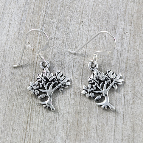 Windy Tree Earrings, Sterling Silver