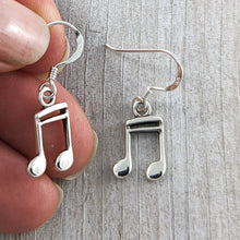 Load image into Gallery viewer, Music Note Earrings, Sterling Silver