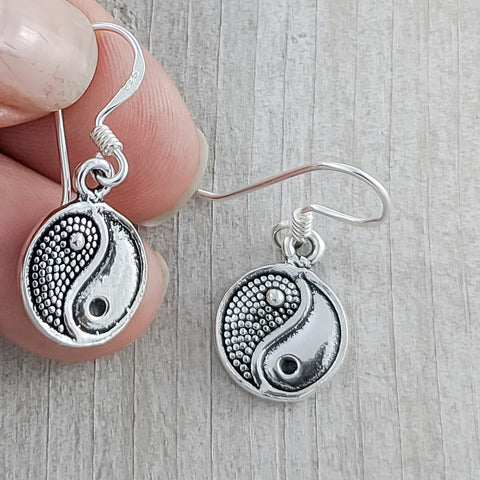 Yin-yang Earrings, Sterling Silver