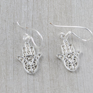 Hamsa/Fatima Hand Earrings, Sterling Silver