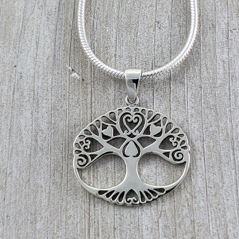 Tree of Life with Hearts Pendant, Sterling Silver