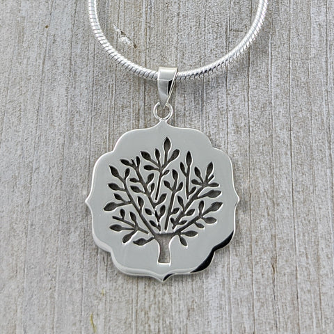 Cut-out Tree of Life Pendant, Sterling Silver