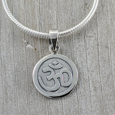 Disc Om Pendant, Sterling Silver