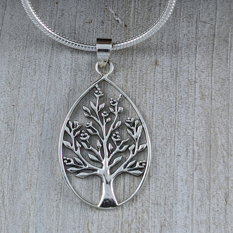 Tree of Life in Tear Drop Pendant, Sterling Silver